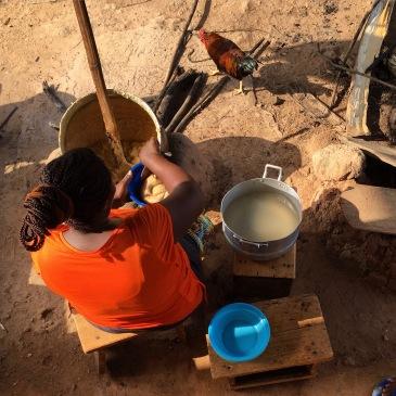 A woman making konkonte