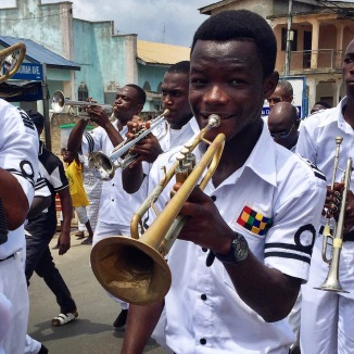 The bands marched through the streets to Liberation Square where the festival was held.